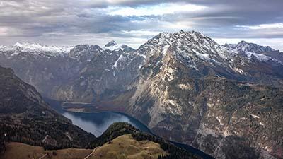 Blick vom Jenner über den Königssee auf den Watzmann