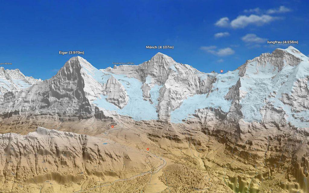 3D Topokarte Eiger Mönch Jungfrau